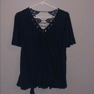 Navy blue blouse with tassel